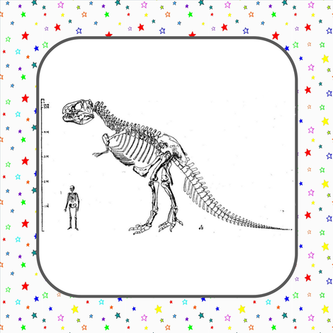 Vintage T-Rex Skeleton Rainbow Stars Quilt Blocks