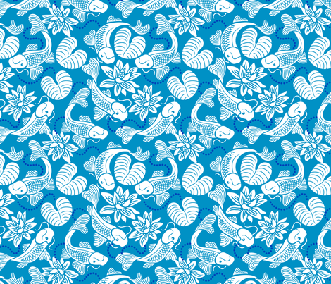White Koi on Blue fabric by dianne_annelli on Spoonflower - custom fabric