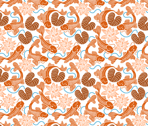 Orange Koi on White fabric by dianne_annelli on Spoonflower - custom fabric