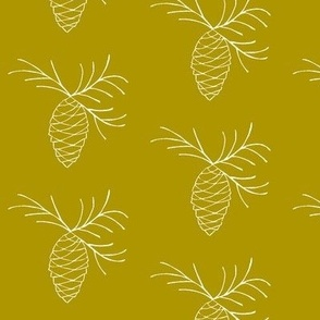 Sketchy Basics - Pine Cones on Gold