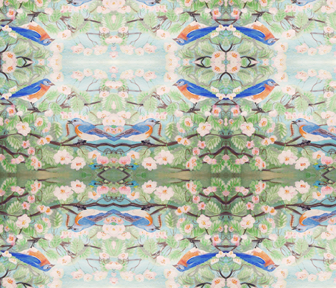Bluebirds fabric by flutterbunny on Spoonflower - custom fabric