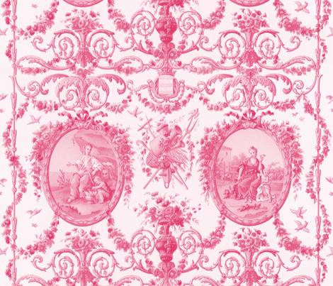 Rococo Harvest ~ Pink and White fabric by peacoquettedesigns on Spoonflower - custom fabric