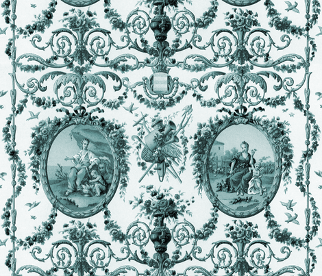 Rococo Harvest ~ China Blue fabric by peacoquettedesigns on Spoonflower - custom fabric