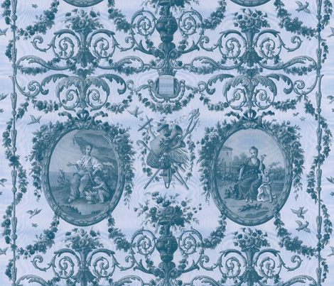 Rococo Harvest ~ Blue Moire fabric by peacoquettedesigns on Spoonflower - custom fabric