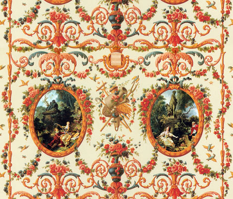 Rococo Lovers ~ Seasons of Love fabric by peacoquettedesigns on Spoonflower - custom fabric