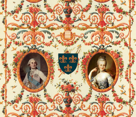 Rococo Lovers ~ Louis XVI and Marie Antoinette fabric by peacoquettedesigns on Spoonflower - custom fabric