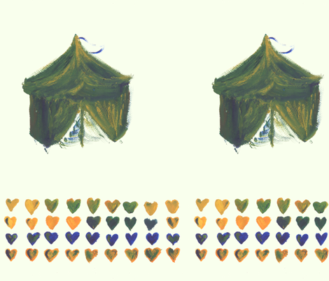 Tent and hearts fabric by heanne on Spoonflower - custom fabric