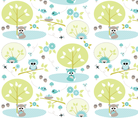 Woodland babies in mint fabric by heleenvanbuul on Spoonflower - custom fabric