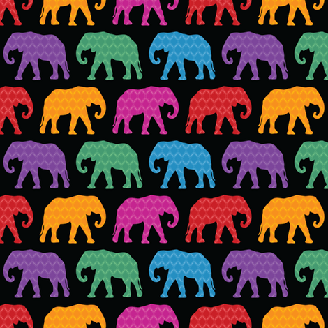 Exotic Elephants (Dark) fabric by robyriker on Spoonflower - custom fabric