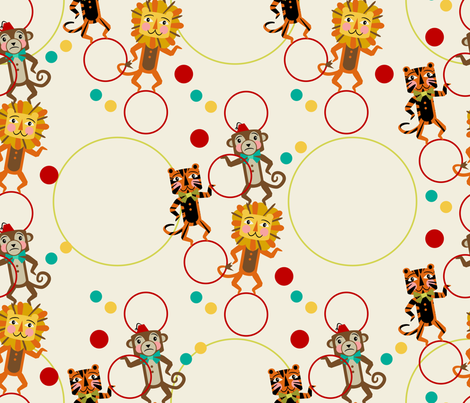 Juggling Hoops ~ Lions, Tigers and Monkeys fabric by retrorudolphs on Spoonflower - custom fabric