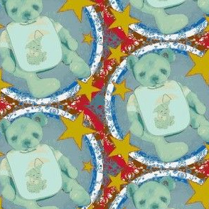 Retro Teddy Bear Blue/Red and Yellow