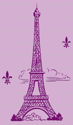 Eiffel Tower purple/lt purple by Paris Bebe Fabric- Paris Bound