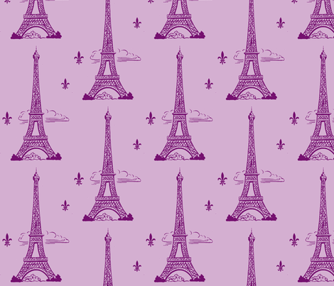 Eiffel Tower purple/lt purple by Paris Bebe Fabric- Paris Bound fabric by parisbebe on Spoonflower - custom fabric