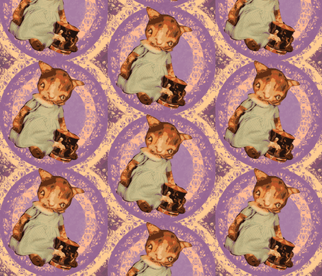 Kitty Kitty in purple fabric by janshackelford on Spoonflower - custom fabric