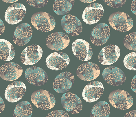 Eastern egg on green fabric by kociara on Spoonflower - custom fabric