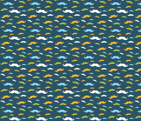 Multi-color mustache fabric by dharper26 on Spoonflower - custom fabric