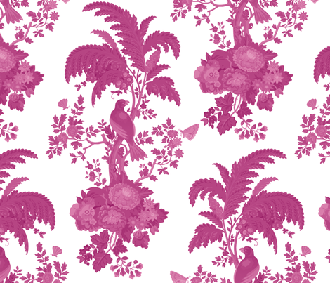Parrot Forest Toile 3a fabric by muhlenkott on Spoonflower - custom fabric