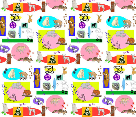 Baby Animal Blocks fabric by ravynscache on Spoonflower - custom fabric