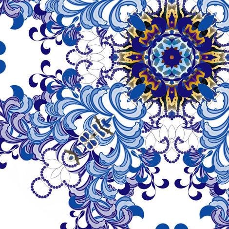 Flourish in blue fabric by joanmclemore on Spoonflower - custom fabric