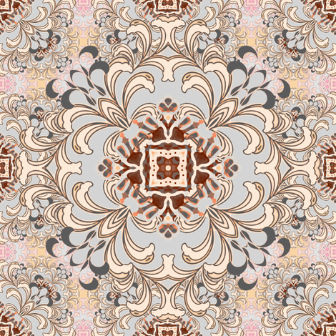 Flourish in peach and gray fabric by joanmclemore on Spoonflower - custom fabric
