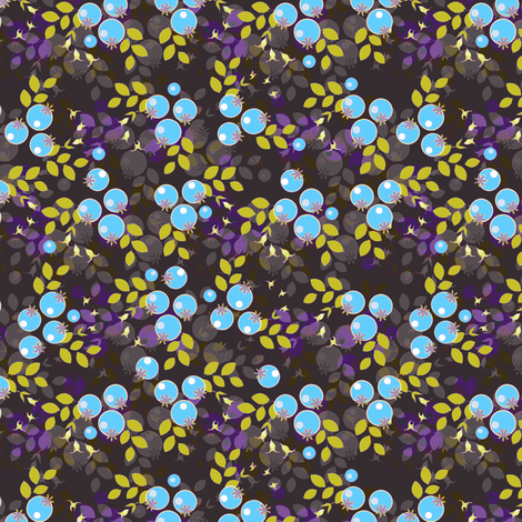 Blueberries and yellow leaves fabric by joanmclemore on Spoonflower - custom fabric