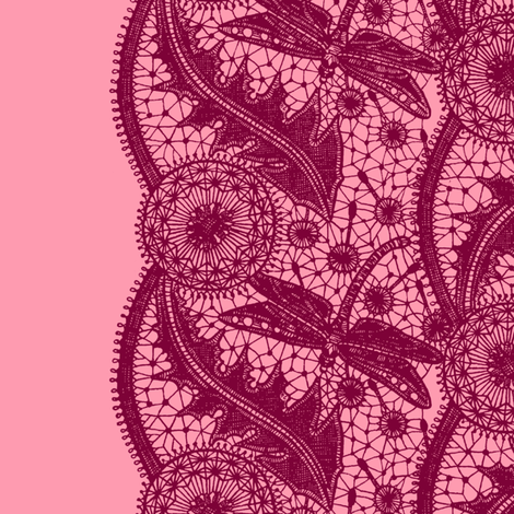 Dragonfly Lace ~ Tiers ~ Pink & Brick fabric by peacoquettedesigns on Spoonflower - custom fabric