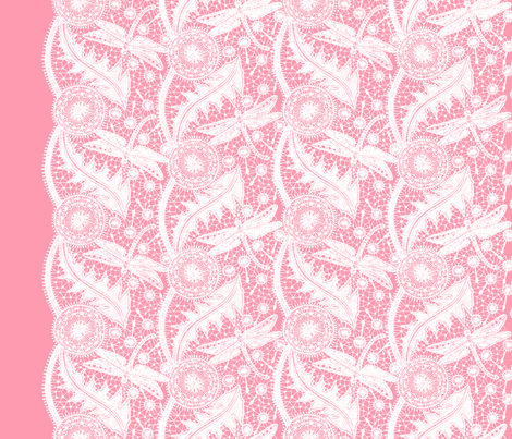 Dragonfly Lace ~ Tiers ~ White & Pink fabric by peacoquettedesigns on Spoonflower - custom fabric