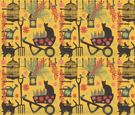 spring gardening on yellow fabric by kociara on Spoonflower - custom fabric