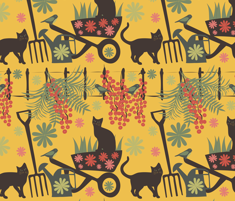 spring in the garden on yellow fabric by kociara on Spoonflower - custom fabric