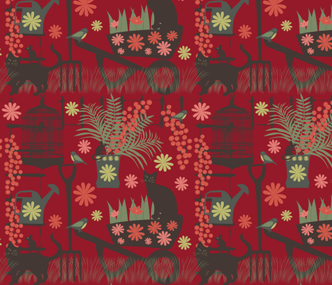 spring gardening on red fabric by kociara on Spoonflower - custom fabric