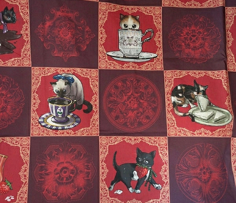 Kitten Tea Party Cheater Quilt