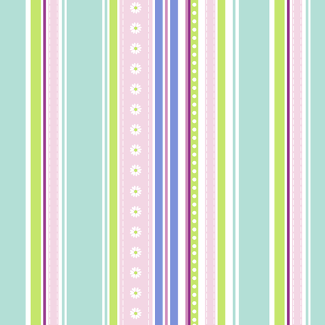 Daisy Stripe fabric by jillbyers on Spoonflower - custom fabric