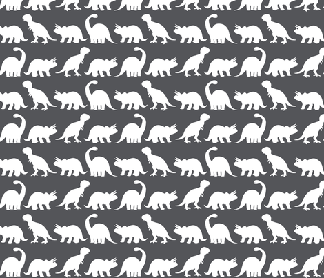 Dino Parade - Charcoal Gray fabric by sshaw1tx on Spoonflower - custom fabric