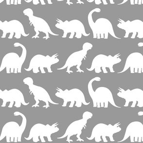 Dinky dino s fabric wallpaper gift wrap spoonflower for Grey dinosaur fabric