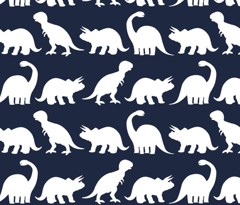 Dino Parade - Navy fabric by sshaw1tx on Spoonflower - custom fabric