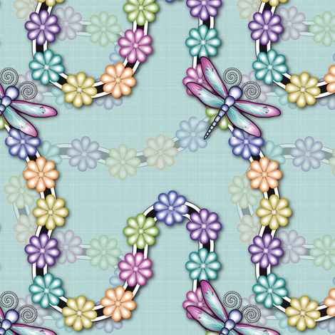 Flowers_Dragonfly fabric by vannina on Spoonflower - custom fabric
