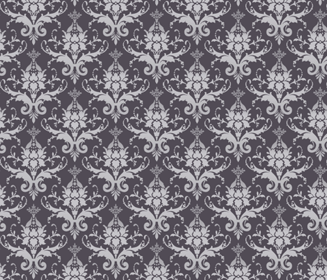 Silver Damask fabric by popstationery&gifts on Spoonflower - custom fabric