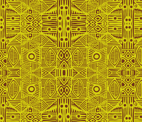 Tiki Green fabric by flyingfish on Spoonflower - custom fabric