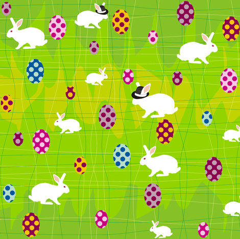 White Rabbit in Wonderland at Easter fabric by smuk on Spoonflower - custom fabric