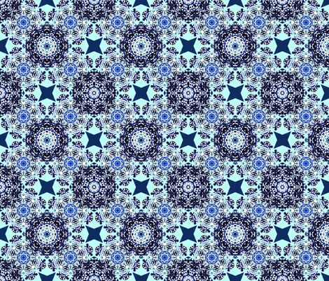 Kaleidoscope Snowflake BlueAqua fabric by jennysquawk on Spoonflower - custom fabric