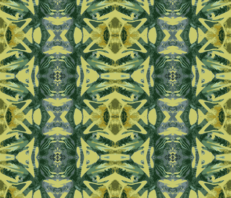 Tiki Gods in the Sunflower Field fabric by susaninparis on Spoonflower - custom fabric