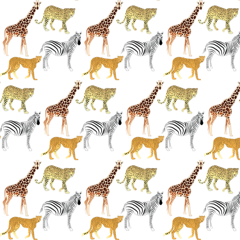 African Animals fabric by terriaw on Spoonflower - custom fabric