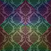Dark Rainbow Damask