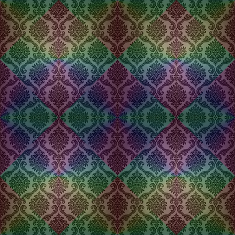 Dark Rainbow Damask fabric by fentonslee on Spoonflower - custom fabric