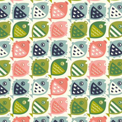 fishies (green pink blue) fabric by verycherry on Spoonflower - custom fabric