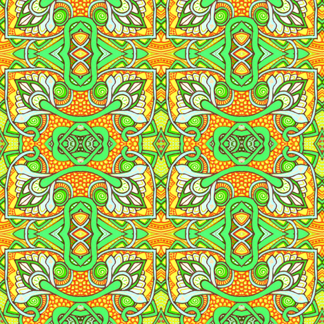 Reaching Outside of the Box (green/orange version) fabric by edsel2084 on Spoonflower - custom fabric