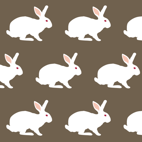 White Rabbit on Brunneous fabric by smuk on Spoonflower - custom fabric
