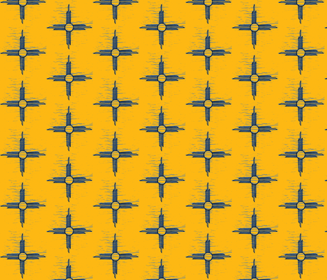 Sun gold + blue  fabric by darci on Spoonflower - custom fabric