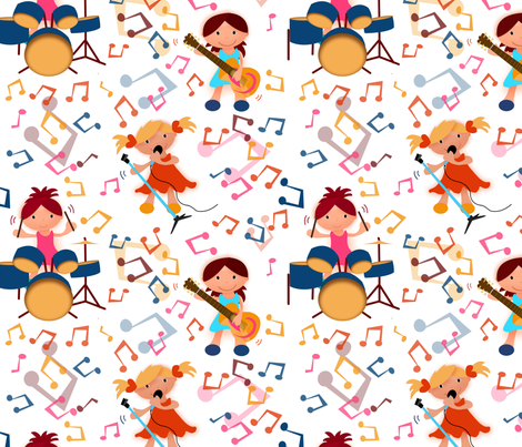girls in the mix  fabric by ellila on Spoonflower - custom fabric