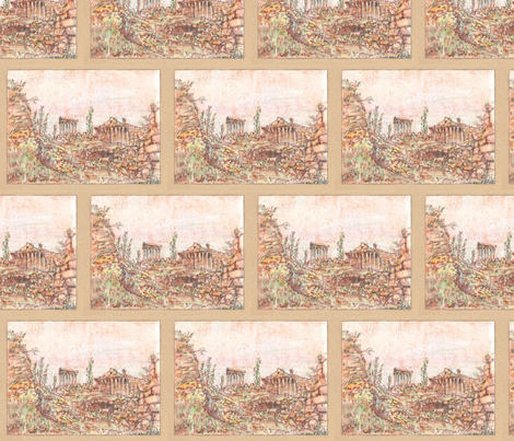 Memories of Grandeur -  Baalbek in Ruins fabric by walkwithmagistudio on Spoonflower - custom fabric